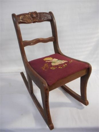 VINTAGE CHILD'S ROCKING CHAIR WITH NEEDLEPOINT SEAT