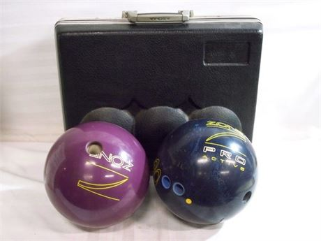 2 BRUNSWICK ZONE PRO ACTIVE BOWLING BALLS WITH VINTAGE HARD CASE
