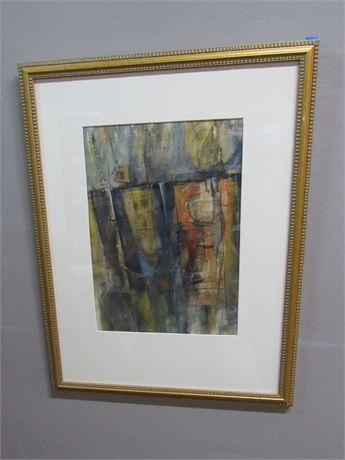 Framed Matted and Signed Abstract - J. E. Nelson