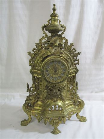 HEAVY ORNATE CAST METAL VINTAGE LOOK MANTEL CLOCK