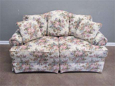 Ethan Allen Pillow-back Floral Fabric Loveseat with 2 Throw Pillows