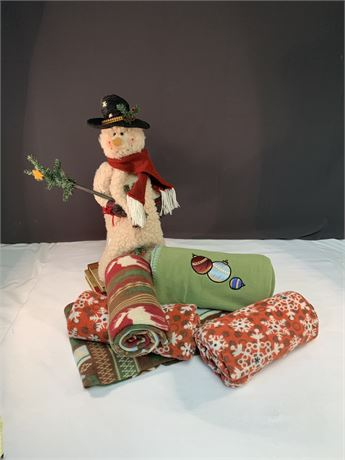 Lot of 5 Holiday Fleeces  and Snowman