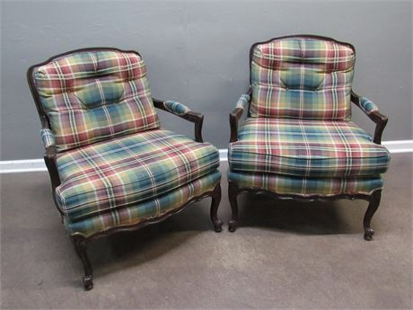 2 Pennsylvania House Cameo 90 Plaid Occasional Chairs