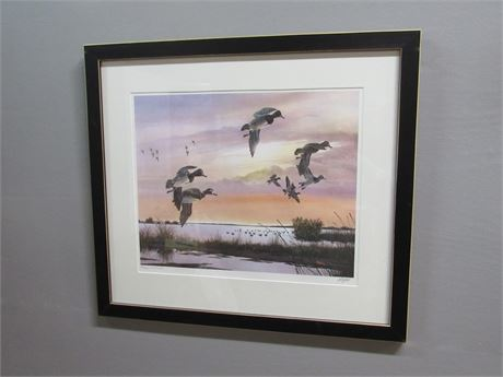 Framed Matted Signed and Numbered(#315/500) Watercolor Duck Print