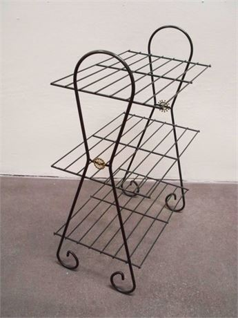 VINTAGE 3-TIER METAL SHELF/PLANT STAND