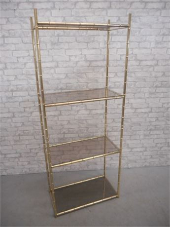 4-TIER BRASS AND SMOKE GLASS DISPLAY SHELF
