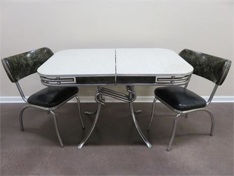 Vintage 1950s Retro Cracked Ice Dinette Table & Chairs