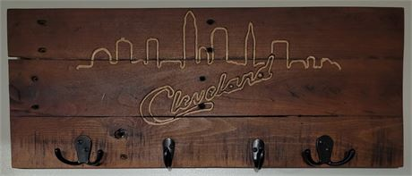 Hand Crafted Key/Hat Hook with Script Cleveland and Skyline Carved Inlaid