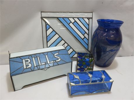 5-Piece Decorative Stained Glass Lot