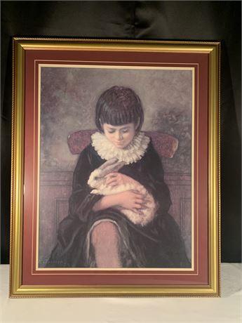 "Wall Art, ""Child with Rabbit"", Eastman Johnson"