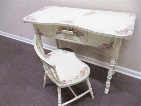 SMALL EMBELLISHED DESK WITH CHAIR BY ARTIST PHYLLIS LUNDELL