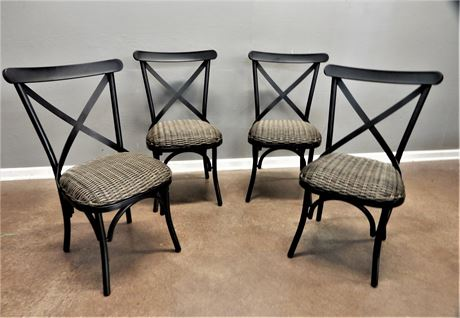 Four Metal and Wicker Chairs
