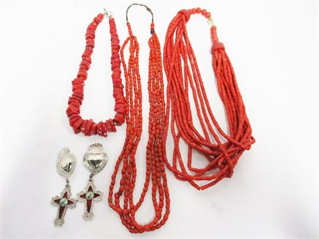 LOT OF CORAL COSTUME JEWELRY