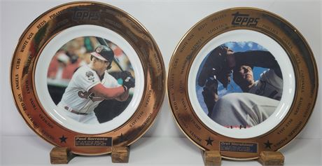 A Pair of Commemorative Plates made by Topps of Orel Hershiser and Paul Sorrento