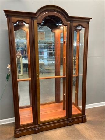 Lighted Wood and Glass Curio
