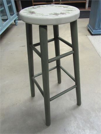 Artisanal Stool with Stenciled Seat