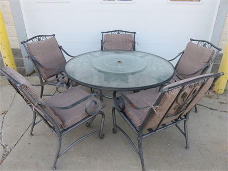 6-Piece 2-Tier Glass Top Metal Patio Set