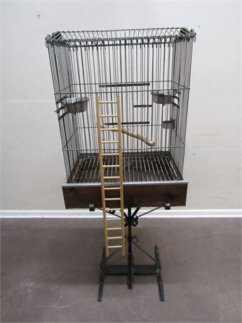 LARGE BIRD CAGE WITH METAL STAND