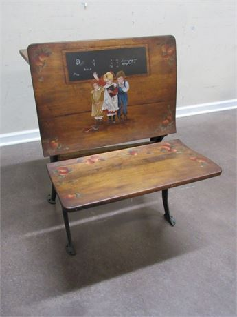 ANTIQUE A. H. ANDREWS CO. STENCILED SCHOOL DESK