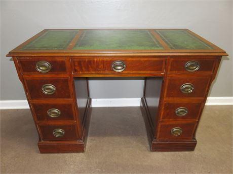 Vintage Mahogany Leather Top Kneehole Desk