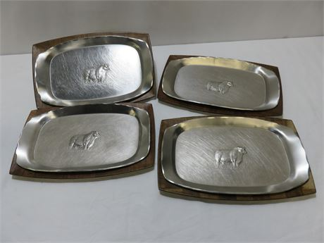 Vintage Wendell August Forged Stainless Clad Trays - Mid-Century Walnut Trays