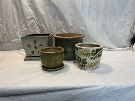 Green Ceramic Planters
