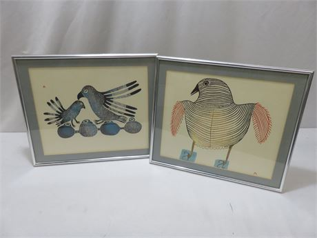 Abstract Bird Lithograph Prints