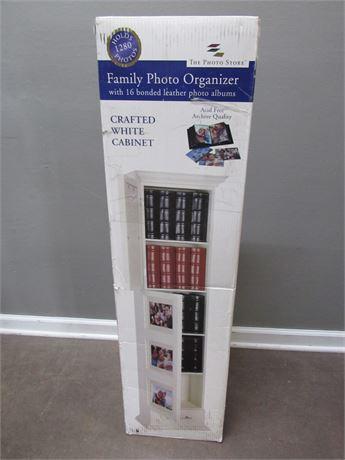 NIB - The Photo Store - Photo Organizer White Cabinet w/ 16 Leather Albums