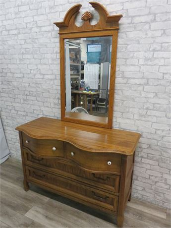 Pulaski Oak Serpentine Dresser & Mirror