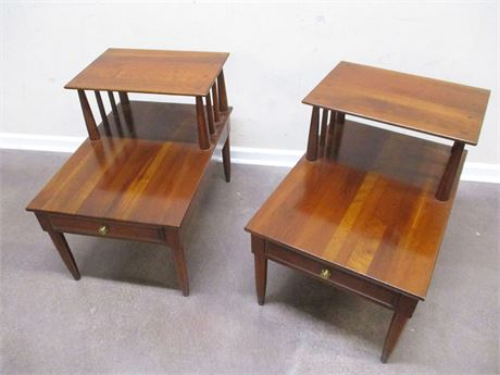 "LOT OF 2 MID-CENTURY CHERRY END TABLES BY WILLETT ""TRANSITIONAL"""