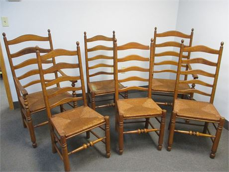 LOT OF 6 VINTAGE RUSH SEAT CHAIRS