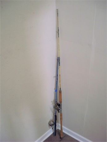 2 FISHING RODS AND REELS