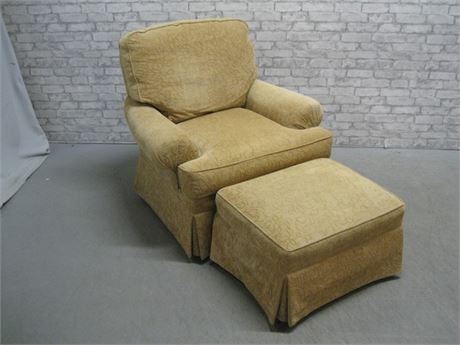 SHERRILL UPHOLSTERED CHAIR AND OTTOMAN