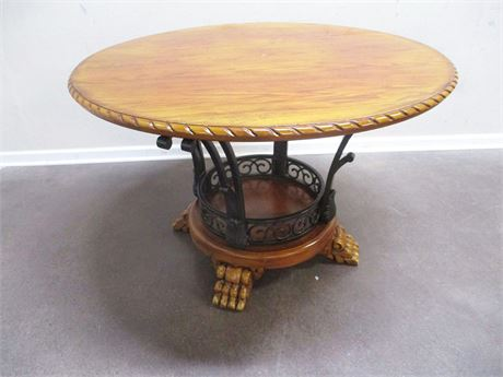 LOVELY PEDESTAL TABLE WITH METAL ACCENTS