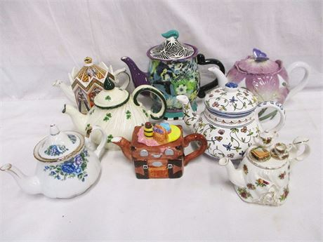 LOT OF 8 WHIMSICAL TEAPOTS