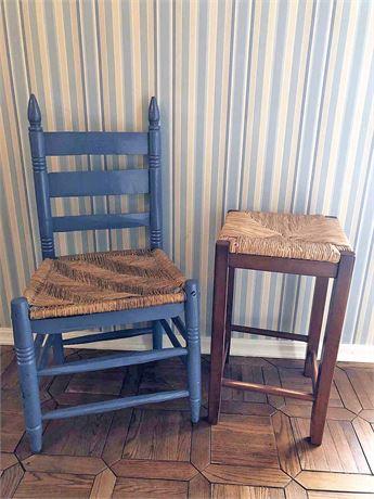 Rattan Chair & Stool