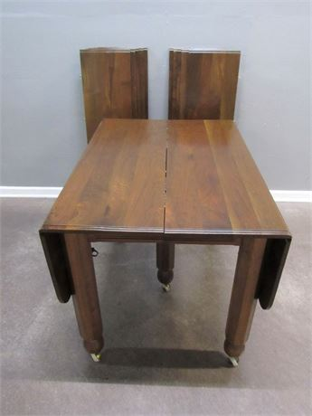 HUGE! Cute Little Drop-Leaf Table on Casters - Custom Amish Built