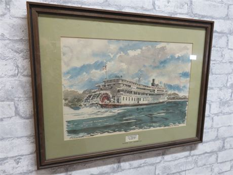 "PAUL N. NORTON ""Steamboat Delta Queen"" Watercolor Painting (Signed)"