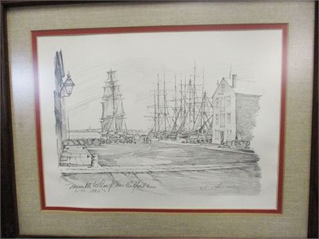 "CHARLES H. OVERLY ""MERRILL'S WHARF, NEW BEDFORD MASS IN THE 1880s"" PRINT"