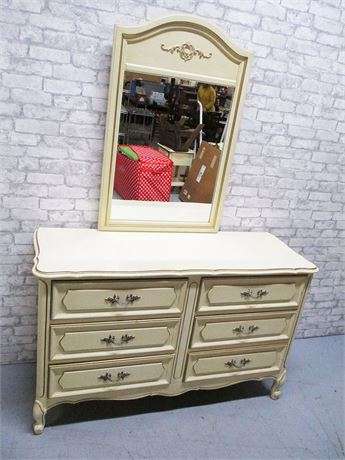 FRENCH PROVINCIAL 6-DRAWER DRESSER WITH MIRROR