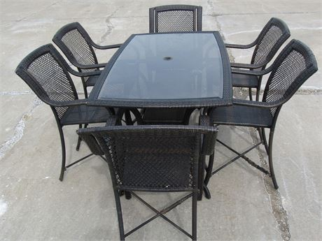SYNTHETIC WICKER BAR HEIGHT PATIO TABLE AND 6 ARM CHAIRS