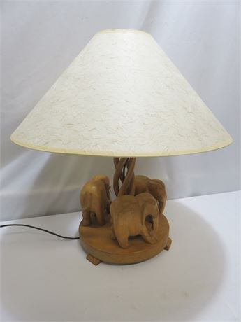 Carved Wooden Elephant Figurines Lamp