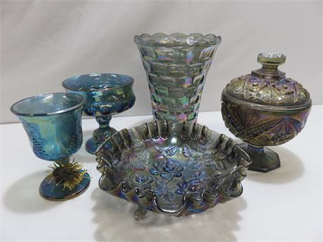 5-Piece IMPERIAL Carnival Glass Lot
