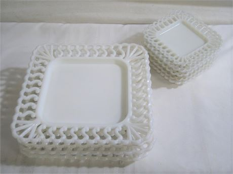 9 WESTMORELAND OPEN LACE WHITE MILK GLASS PLATES
