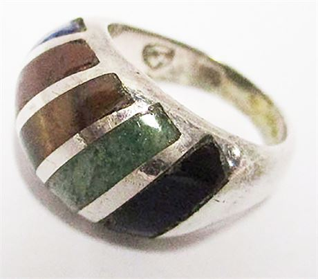 SIZE 5.5 STERLING SILVER RING WITH INLAYS