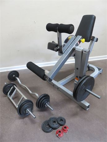 TUFFSTUFF Leg Extension Bench with Weights & Bars
