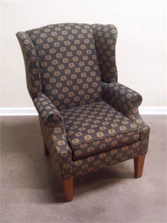 HALLAGAN MFG. CO FIRESIDE WING-BACK UPHOLSTERED CHAIR