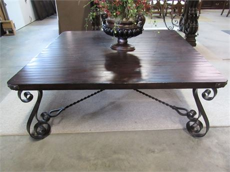 Vintage/Rustic Look Large Wrought Iron and Wood Coffee Table