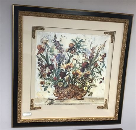 Floral Large Gold Gilt Picture in Frame