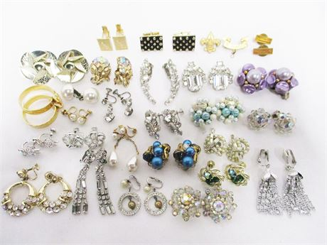 LOT OF VINTAGE COSTUME CLIP EARRINGS FEATURING MARVELLA AND SARAH COVENTRY